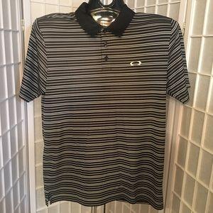 Oakley Mens Medium Black Striped Polo Golf Shirt